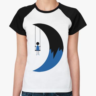 Женская футболка реглан Качели на Луне