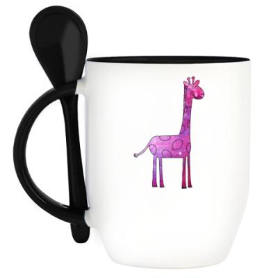 Кружка с ложкой Космический Жираф