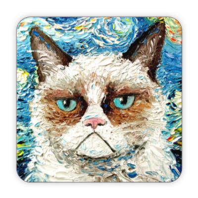 Костер (подставка под кружку) Кот с недовольной мордой