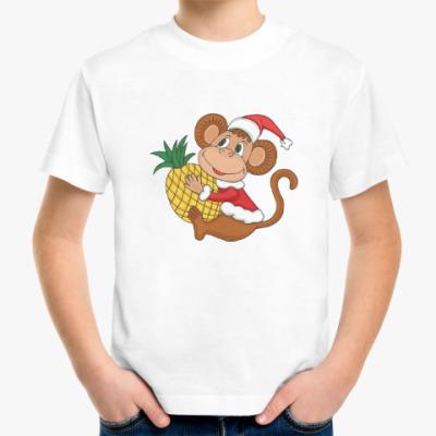Детская футболка Новогодняя обезьянка