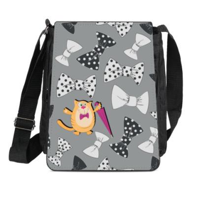 Сумка-планшет Кошка с зонтиком и галстуками-бабочкой