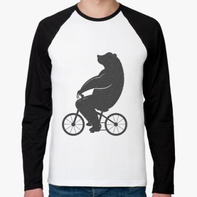 Футболка реглан с длинным рукавом Медведь на велосипеде