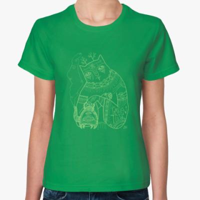 Женская футболка Кот и Зеленый чай