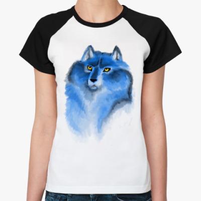 Женская футболка реглан волк