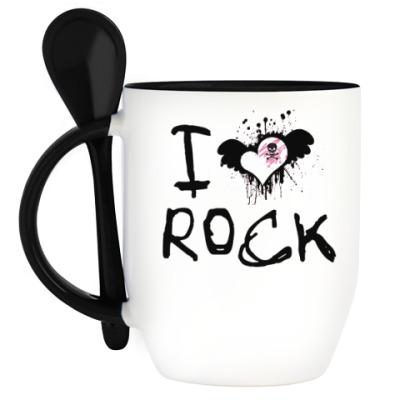 Кружка с ложкой I Love Rock