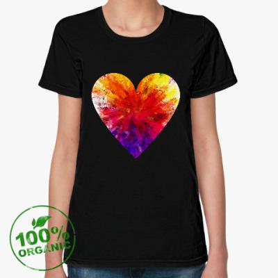 Женская футболка из органик-хлопка Сердечко