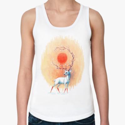 Женская майка Дух весны белый олень