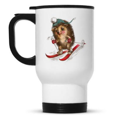 Кружка-термос Ёжик лыжник