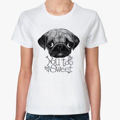 Классическая футболка мопс милый щенок