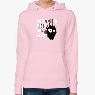 Женская толстовка худи Угольный кот