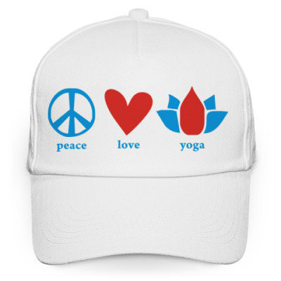 Кепка бейсболка 'Peace, love, yoga'