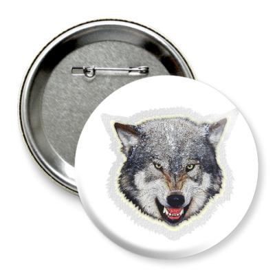 Значок 75мм Волк