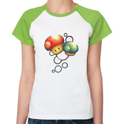 Женская футболка реглан Mario Mushrooms