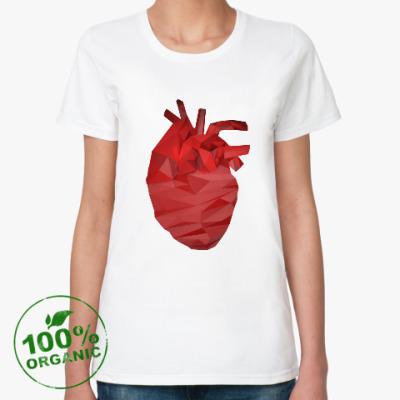 Женская футболка из органик-хлопка Сердце 3D