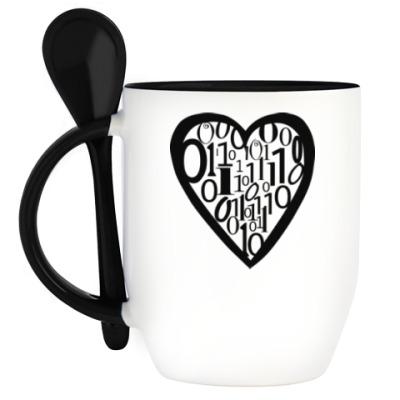 Кружка с ложкой Сердце программиста