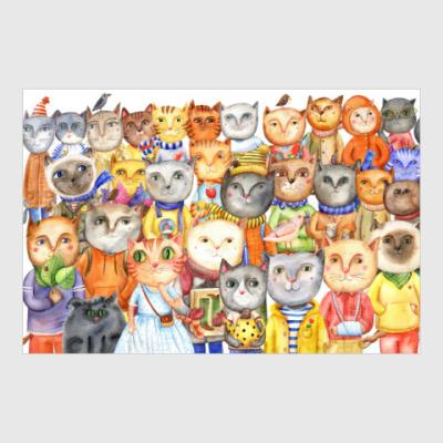 Постер коллаж из акварельных котов