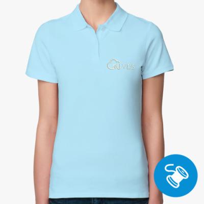 Женская рубашка поло Женская рубашка поло Sol's, голубая (вышивка)