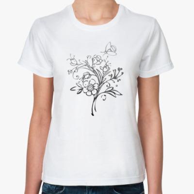 Классическая футболка  Цветочный узор