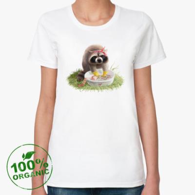 Женская футболка из органик-хлопка Енот-полоскун полощет