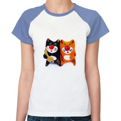 Женская футболка реглан Котики