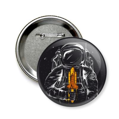 Значок 58мм Космонавт с мороженкой