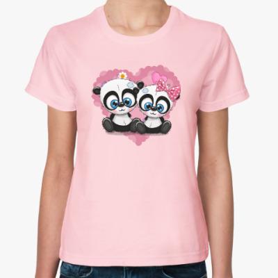 Женская футболка Маленькие панды