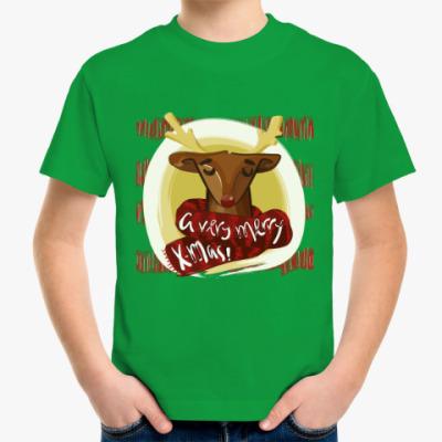 Детская футболка Рождественский олень в шарфике