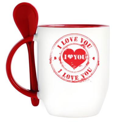 Кружка с ложкой Печать I Love You