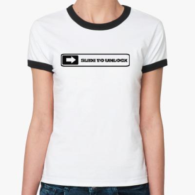 Женская футболка Ringer-T Slide to unlock