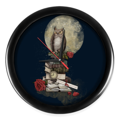 Настенные часы Мудрая сова и книги