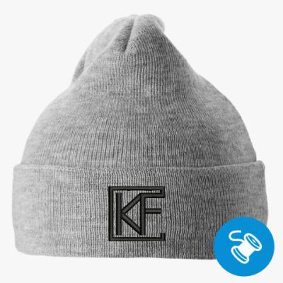 Вязаная шапка с подворотом, серая (вышивка) Вязаная шапка с подворотом, серая (вышивка)