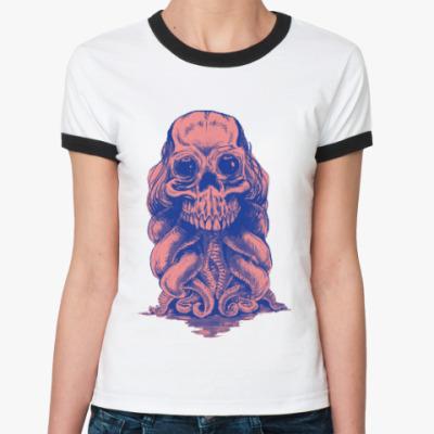 Женская футболка Ringer-T Череп со щупальцами