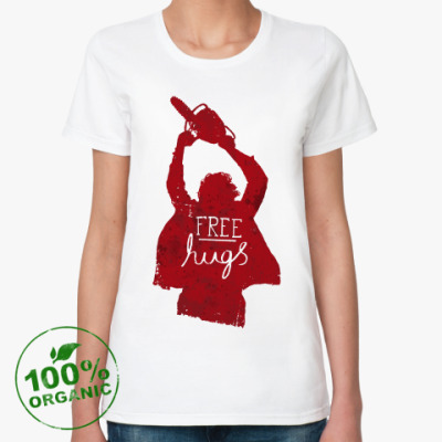 Женская футболка из органик-хлопка Free hugs