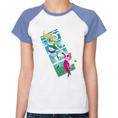 Женская футболка реглан Adventure Time - Время летать