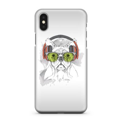 Чехол для iPhone X Собака в зеленых очках