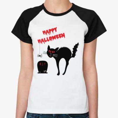 Женская футболка реглан Ужасы Хэллоуин