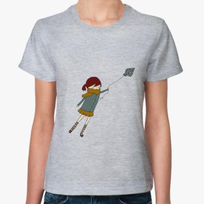 Женская футболка Girl with a bird
