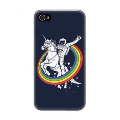 Чехол для iPhone 4/4s Космонавт на единороге