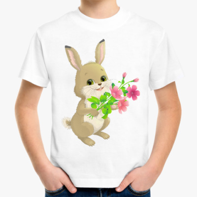 Детская футболка Зайчик с букетом