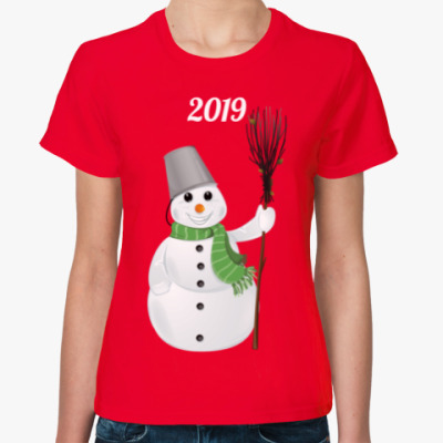 Женская футболка Снеговик 2019
