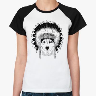 Женская футболка реглан Хаски вождь