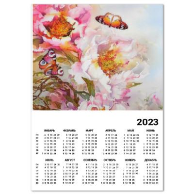 Календарь Пионы и бабочки