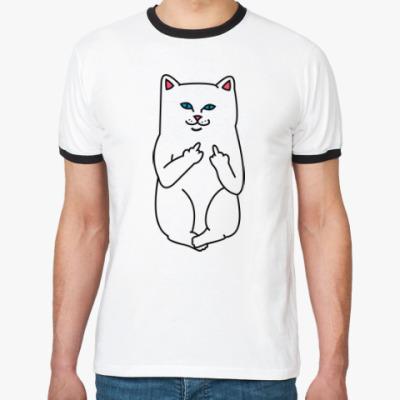 Футболка Ringer-T Kitty with fuck