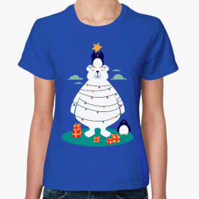 Женская футболка Новый год на Северном Полюсе