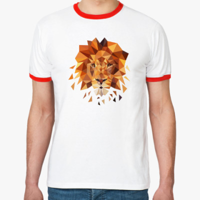 Футболка Ringer-T Лев Lion lowpoly