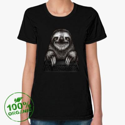 Женская футболка из органик-хлопка Ленивец компьютерный