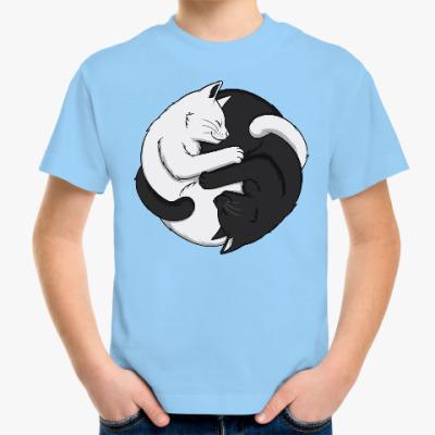 Детская футболка Черный и белый кот инь-ян