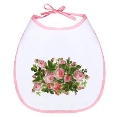 Слюнявчик Розовый букет