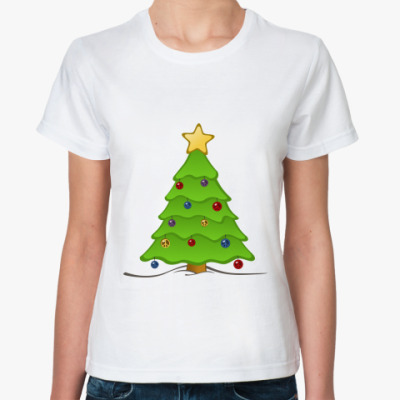 Классическая футболка Новогодняя ёлка