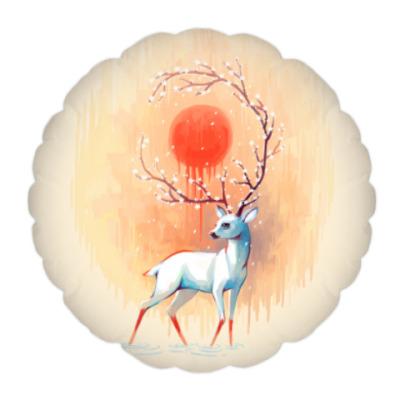 Подушка Дух весны белый олень